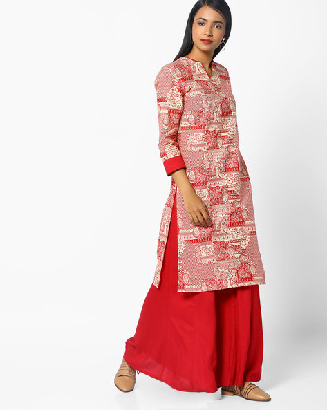 All-Over Print Straight Kurta By AJIO ( Ivory )