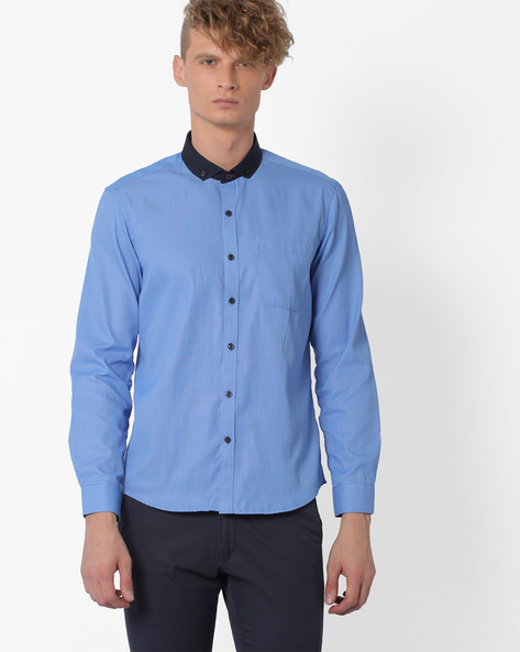 Regular Fit Shirt With Button-down Cutaway Collar By NETWORK ( Blue )