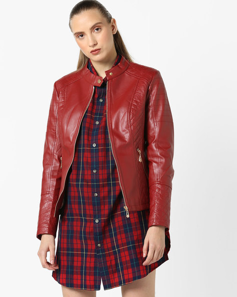 Jacket With Zipped Pockets By The Indian Garage Co ( Red )