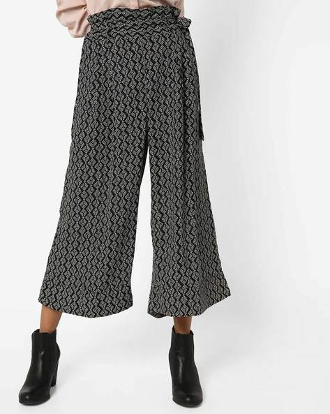 Printed Palazzos With Waist Tie-Up By Oxolloxo ( Black )