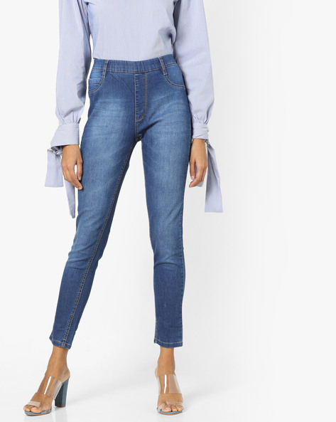 Lightly Washed Ankle-Length Jeggings By KRAUS ( Mediumblue )