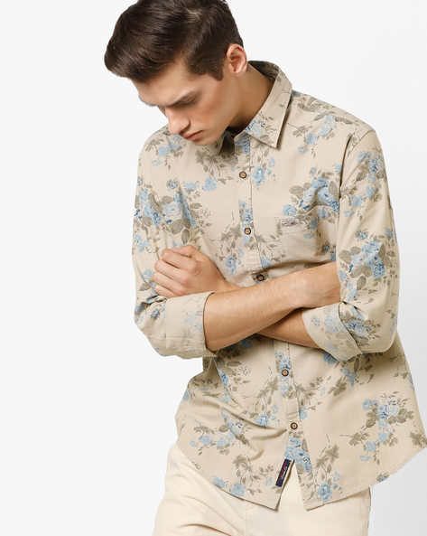 Floral Print Slim Fit Shirt With Patch Pocket By US POLO ( Beige )