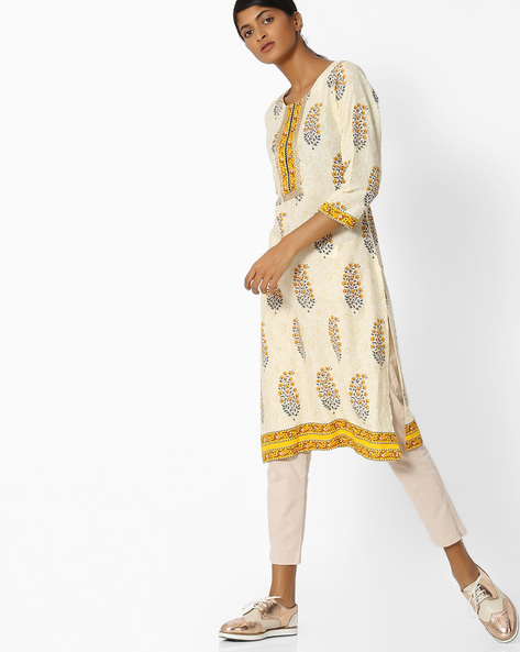 All-Over Print Cotton Kurta By SOCH ( Cream )
