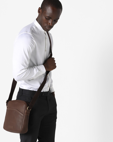 Genuine Leather Crossbody Bag By JUSTANNED ( Brown )