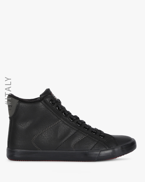 Panelled High-Top Casual Shoes By ALCOTT ( Black )