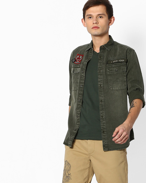 Lightly Washed Slim Fit Denim Shirt By Jack & Jones ( Gray )