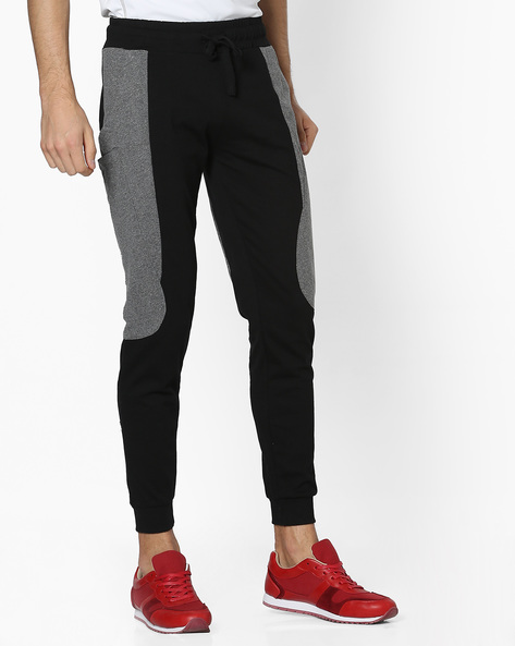 Panelled Joggers With Drawstring Fastening By Campus Sutra ( Black )