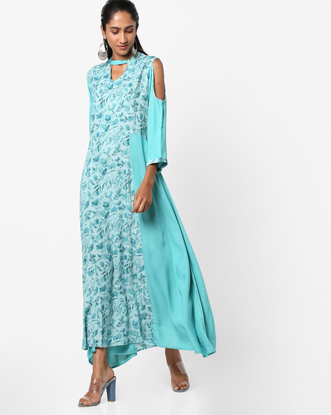 Panelled Flared Kurta With Cold-Shoulder Sleeves By Shree ( Blue )