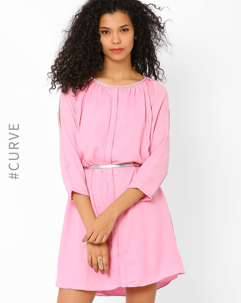 Shirt Dress With Embellished Neckline By AJIO ( Pink )