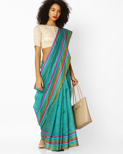 Mysore Silk Saree With Contrast Border By Florence ( Green )