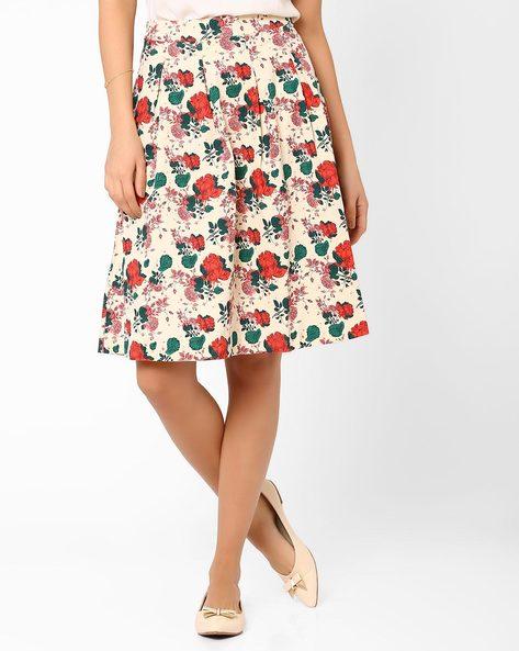 Floral Print Pleated Skirt By AJIO ( Beige )