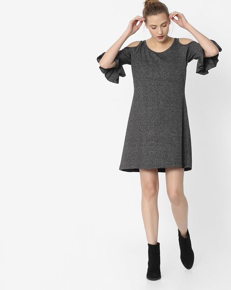 Grindle Shift Dress With Cold Shoulders By ANONYMOUS CO ( Black )