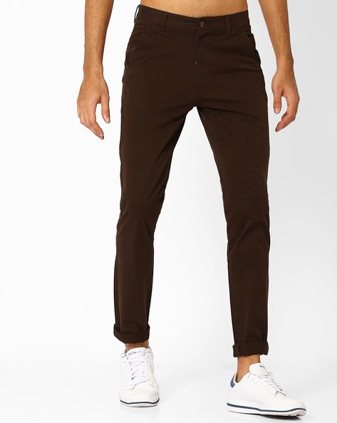 Slim Fit Flat-Front Trousers By Nature Casuals ( Brown )