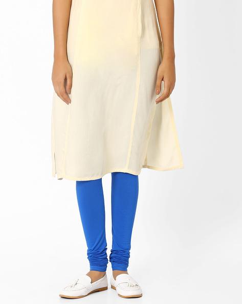 Churidar Leggings With Elasticated Waistband By AJIO ( Blue ) - 460014345009