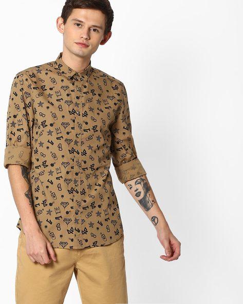 Printed Slim Fit Shirt By Jack & Jones ( Grey )