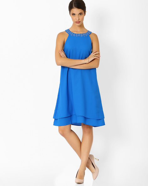 Layered Swing Dress With Embellishments By AJIO ( Blue )