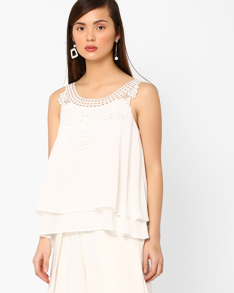 Layered Sleeveless Top With Lace By AJIO ( White )