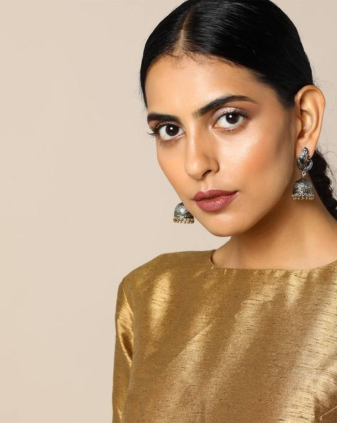 Two-Toned  Peacock Brass Jhumka Earrings By Studio B40 ( Silver ) - 460095214001