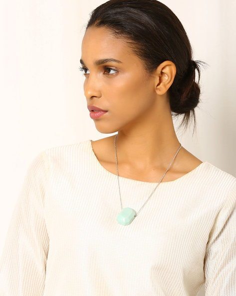 Handcrafted Ceramic Necklace With Chain By Indie Picks ( Lightblue )