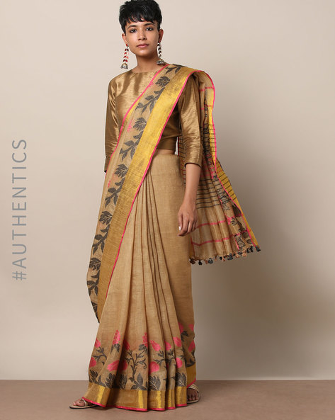 Handloom Pure Linen Floral Saree With Zari By Indie Picks ( Brown )