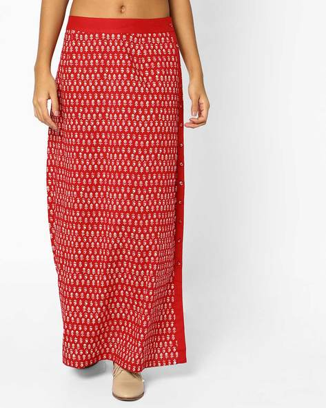 Block Print Maxi Skirt With Slit By AJIO ( Rubyblack )