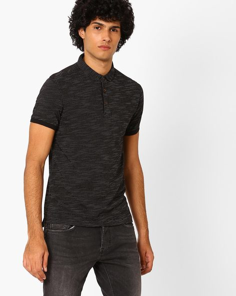 Stlyised Fit Pattern Weave Polo T-shirt By LEVIS ( Black )