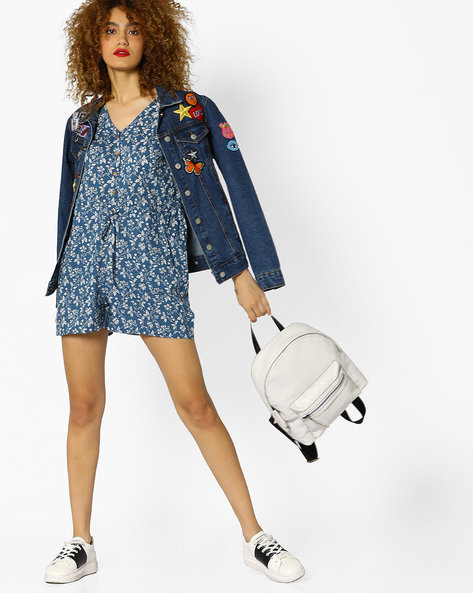 Floral Print Playsuit With Pockets By AJIO ( Blue )