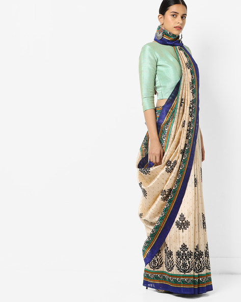 Bhagalpuri Silk Saree With Block Print By Florence ( Beige )