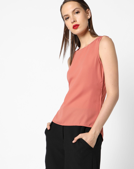Sleeveless Top With Tie-Up By AJIO ( Peach )