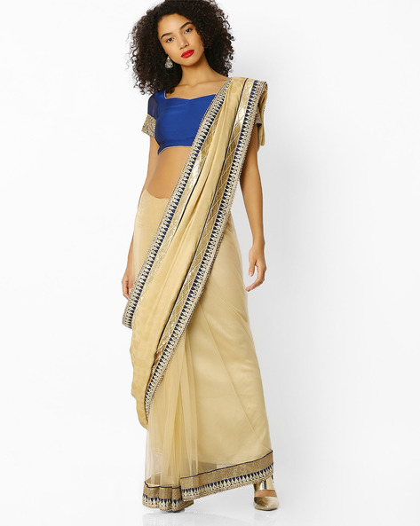 Jacquard Embroidered Saree With Blouse By Florence ( Beige )