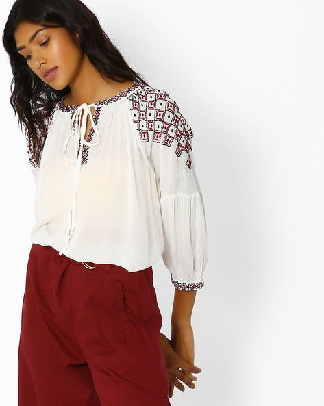 Crinkled Top With Embroidery By Oxolloxo ( White )