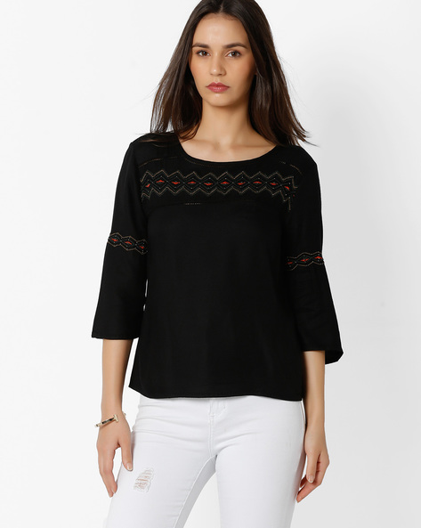 Top With Embroidery By Only ( Black )