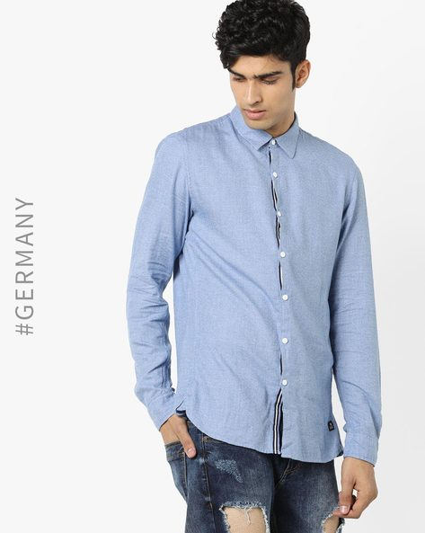 Cotton Shirt With Spread Collar By Tom Tailor ( Blue )