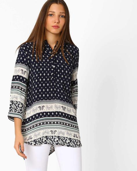 Printed Tunic With High-low Hem By AJIO ( Navyblue )