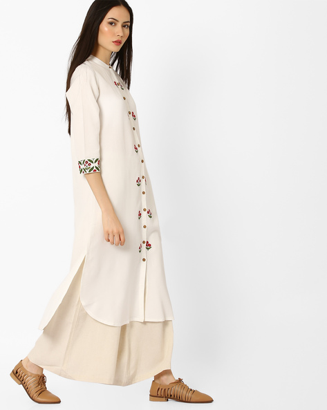 High-Low Kurta With Mandarin Collar By Global Desi ( White )