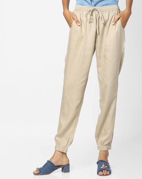 Mid-Rise Pants With Cuffed Hems By Project Eve WW Casual ( Beige )