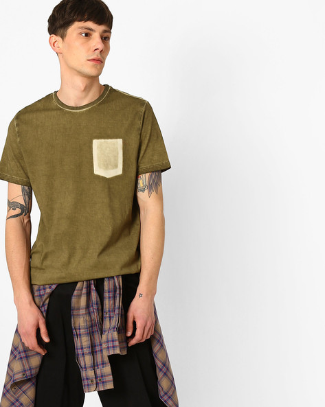 Slim Fit T-shirt With Pocket Impression By AJIO ( Olive )