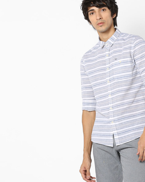 Slim Fit Striped Cotton Shirt By FLYING MACHINE ( Offwhite )