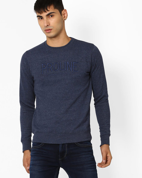 Crew-Neck Sweatshirt With Embroidery By PROLINE ( Darkblue )