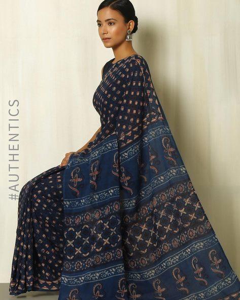 Tarapur Hand Block Print Indigo Cotton Saree By Indie Picks ( Indigo ) - 460084393001
