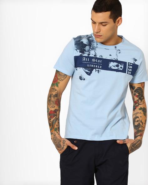 Placement Print Slim Fit T-shirt By AJIO ( Lightblue )