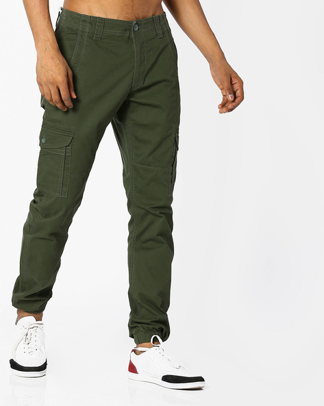 Cargo Joggers With Zip Fly By FLYING MACHINE ( Olive )