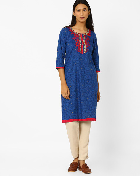 Printed Straight Kurta With Cross Stitch Detail By AVAASA MIX N' MATCH ( Blue )