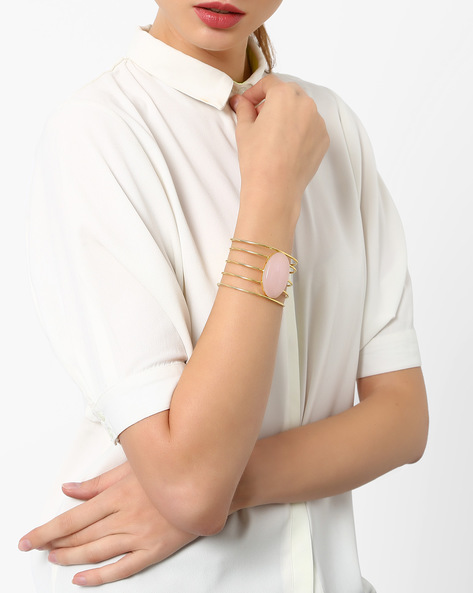 Cuff Bracelet With Quartz Stone By AJIO ( Rose )