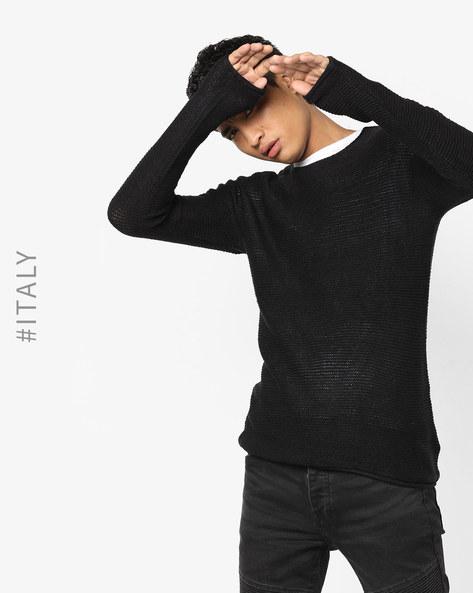 Crew-Neck Knit Sweater By ALCOTT ( Black )