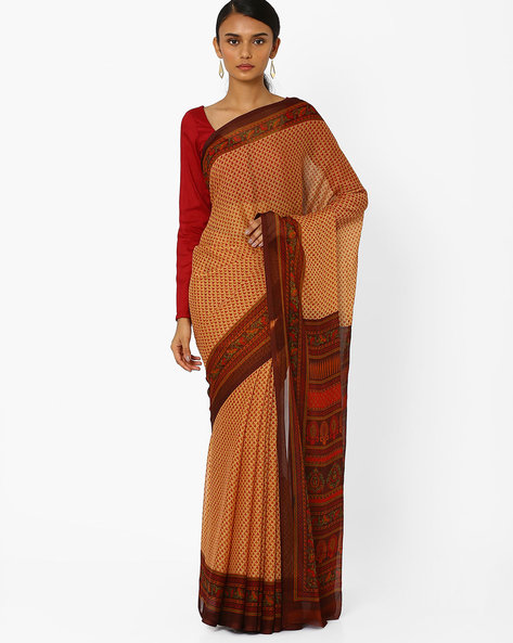 Printed Saree With Contrast Border By Akoya ( Brown )