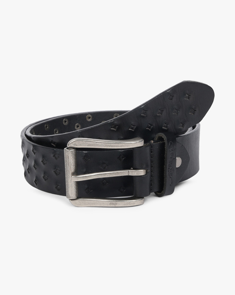 Textured Leather Belt With Buckle Closure By ED HARDY ( Black )