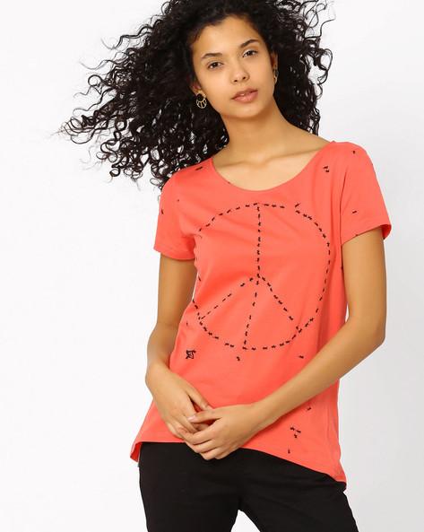 Printed High-Low T-shirt By RIO ( Orange )
