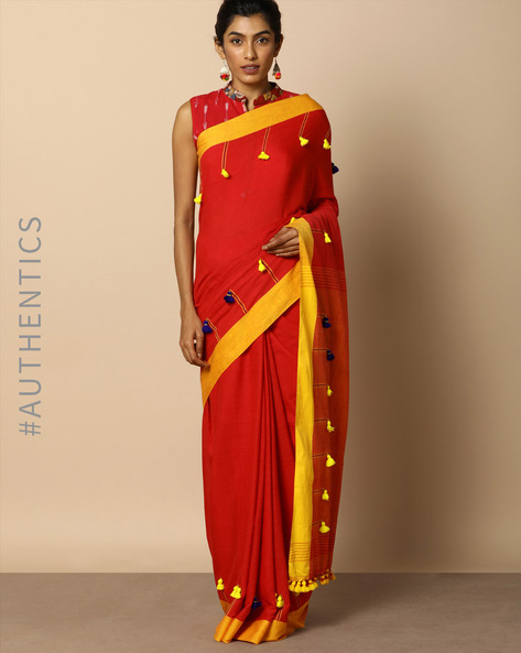 Handloom Bengal Cotton Designer Saree With Tassels By Indie Picks ( Red )