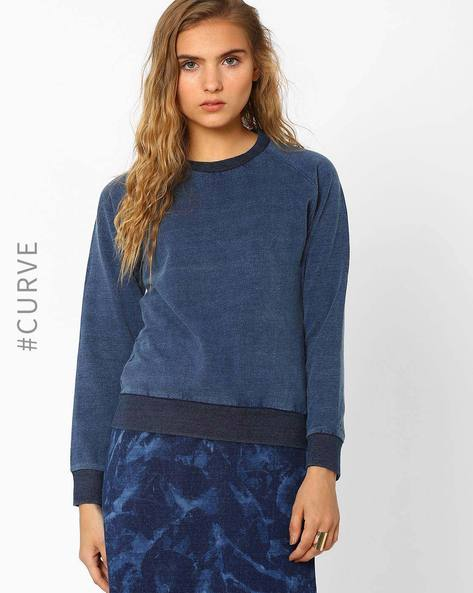 Sweatshirt With Ribbed Hem By AJIO ( Lightblue )